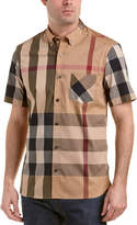 Burberry Thornaby Short-Sleeve Check Stretch Cotton Blend Shirt