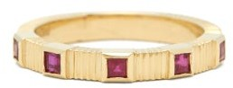 Retrouvai - Pleated Ruby & Gold Ring - Womens - Red Gold