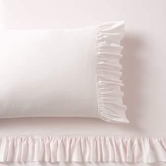 Pottery Barn Teen Washed Cotton Ruffle Organic Sheet Set, Queen, Powdered Blush