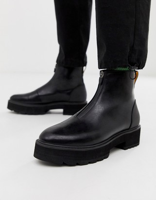 Asos Design DESIGN chelsea boots in black faux leather with zip front and chunky sole