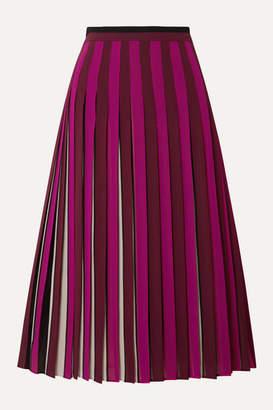 MICHAEL Michael Kors Pleated Striped Crepe Midi Skirt - Magenta