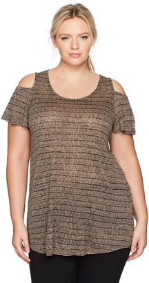 Lucky Brand Women's Plus Size Cold Shoulder Top
