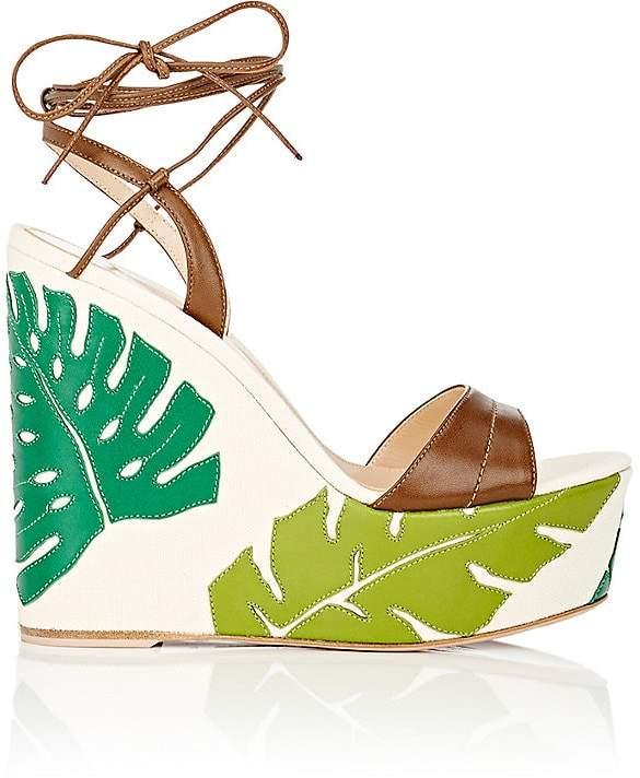 Gianvito Rossi Women's Grenada Leather & Canvas Wedge Sandals