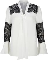 River Island Womens White lace insert flared sleeve blouse