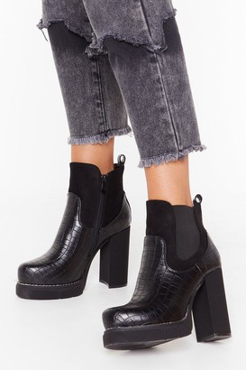 Nasty Gal Womens Croc What You Got Faux Leather Platform Boots - black - 3