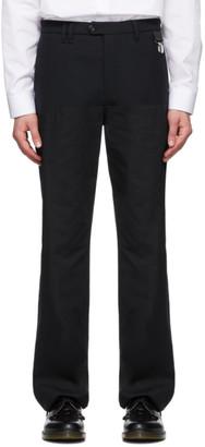 Raf Simons Black Wool Horizontal Cut Straight-Leg Trousers