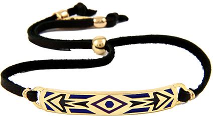 Ettika Blue Aztec Tribal Diamond Pattern Leather Bracelet