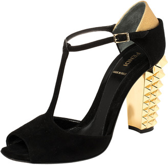Fendi Black/Gold Suede And Embossed Leather Studded Heel T-Strap Sandals Size 39.5