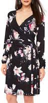 Wallis Rose Print Faux Wrap Dress