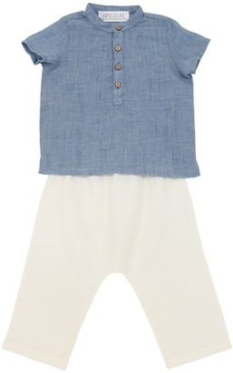 Cotton Blend Muslin Shirt & Linen Pants