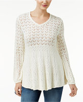 Style&Co. Style & Co. Pointelle Bishop-Sleeve Sweater, Only at Macy's