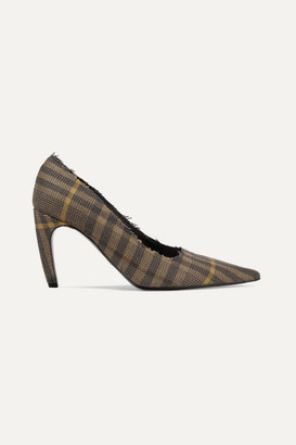 Proenza Schouler Frayed Checked Wool And Linen-blend Pumps - Brown