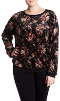 Bobeau Printed Velour Floral Pullover (Plus Size)