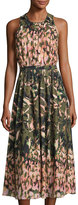 Catherine Catherine Malandrino Watercolor-Print Sleeveless Gathered Dress