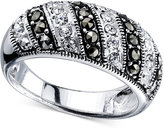 Unwritten Silver-Tone Crystal and Marcasite Ring
