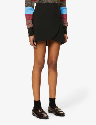 Alice + Olivia Lennon wrap-over high-waist woven mini skirt