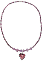 Murano Martick Faceted Crystal Bead and Glass Pendant Necklace