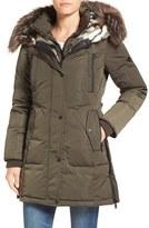 1 Madison Women's Faux Fur Trim Chintz Hooded Down Coat