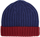 Barneys New York MEN'S WOOL-BLEND RIB-KNIT BEANIE