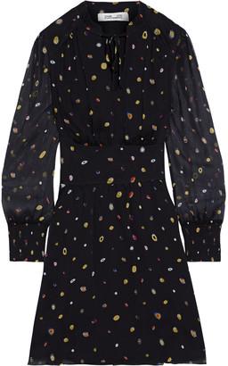Diane von Furstenberg Leena Shirred Printed Silk-georgette Mini Dress