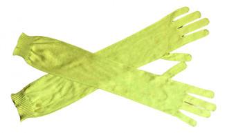 Rochas Yellow Silk Gloves