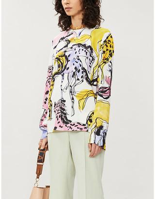 Stella McCartney Horse-print stretch-woven shirt