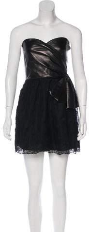 Valentino Strapless Leather-Paneled Dress