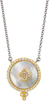 Freida Rothman Pave Crystal Clover Disc Pendant Necklace