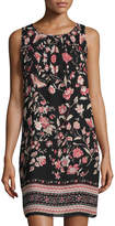 Max Studio Floral-Print Ruched-Yoke Dress, Black Pattern