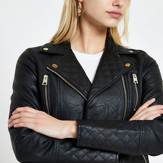River Island Black faux leather quilted biker jacket