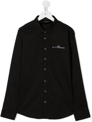 John Richmond Junior TEEN embroidered logo pointed collar shirt