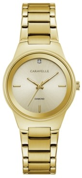 Caravelle Designed by Bulova Women's Diamond-Accent Gold-Tone Stainless Steel Bracelet Watch 30mm