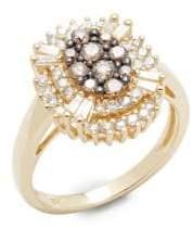 Effy Brown & White Diamond, 14K Yellow Gold Ring