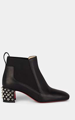 Christian Louboutin Women's Study Spiked Leather Chelsea Boots - Black, Silver