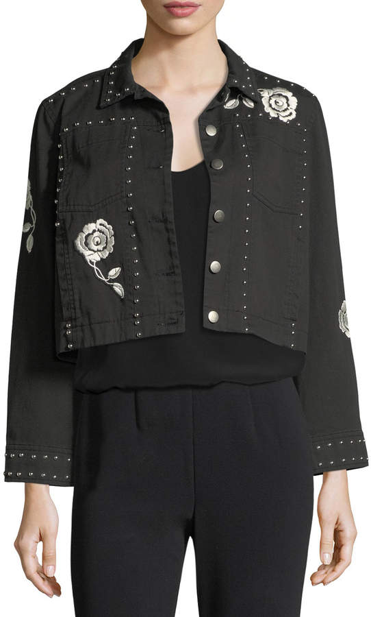 Cinq à Sept Fatima Button-Front Denim Jacket with Embroidery and Studded Trim