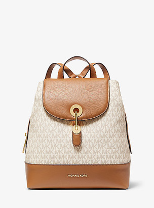 MICHAEL Michael Kors MK Raven Medium Logo and Pebbled Leather Backpack - Vanilla/acorn - Michael Kors
