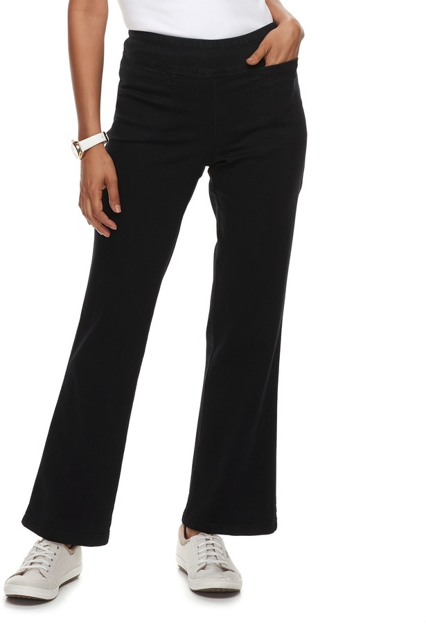 Croft & Barrow Petite Pull-On Mid-Rise Bootcut Jeans