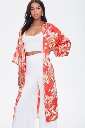 Forever 21 Satin Floral Kimono