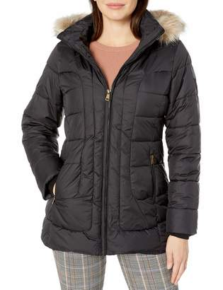 Larry Levine Women's Short Puffer W/Curved Quilting & Detachable Faux-Fur Trimmed Hood