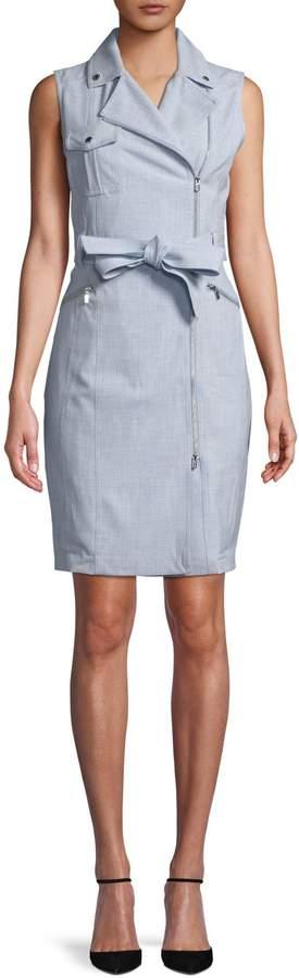 Calvin Klein Cross-Dyed Sleeveless Moto Dress