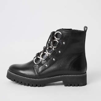 River Island Black leather chunky wide fit boots
