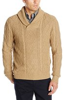 Haggar Men's Allover Cable Stitch Shawl Collar Sweater
