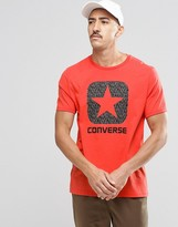 Converse T-shirt With Reflective Logo In Red 10002801-a03