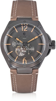 Lancaster Space Shuttle Meccanico Gunmetal Stainless Steel and Natural Nubuck Men's Watch