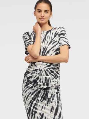 DKNY Women's Tie-dye Ruched T-shirt Dress - Black - Size S