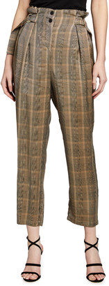 Pinko Alessandro Plaid-Print Taper Pants