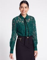 Marks and Spencer Cotton Blend Lace Long Sleeve Shirt