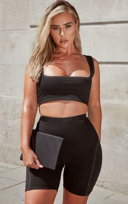 PrettyLittleThing Petite Black Contrast Stitch Square Neck Sleeveless Crop Top