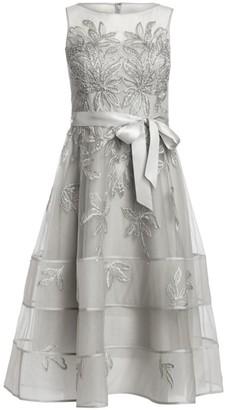 Teri Jon by Rickie Freeman Lace Illusion Sleeveless Dress