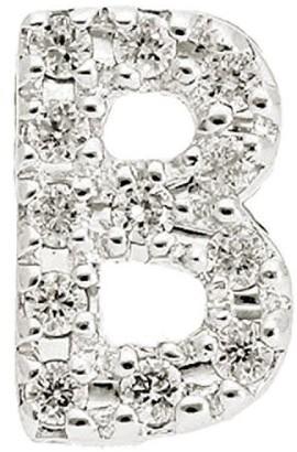 Nephora 14K White Gold & Diamond B Initial Single Stud Earring